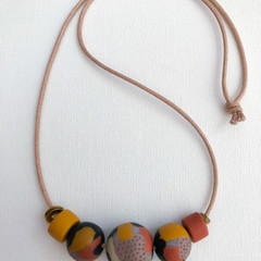 """ORGANIK"" (Grasslands) - Handmade Beaded Necklace on Tan Indian Cotton Cord (i)"