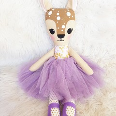 Purple Deer doll, handmade softie