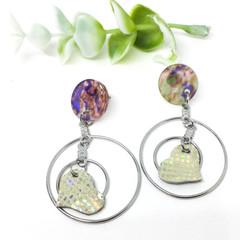 Mermaid Leather Heart dangle earrings