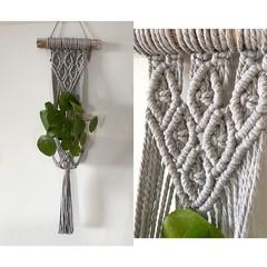 Macrame plant hanger (grey lace)