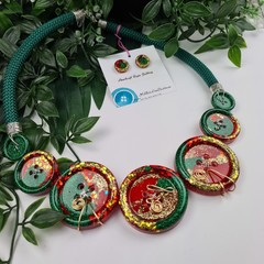 Festive - Twisted Christmas Button Fusion Necklace - Button Jewellery - Earrings