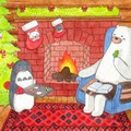 Polar Bear & Penguin Christmas Card, Couple Card