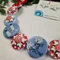 Let it Snow - CHRISTMAS - Button Necklace and Earrings