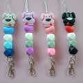 Silicone bead dog with hearts lanyards / ID holders / badge holders
