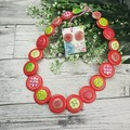 Simple Christmas Red Green White Button Necklace - Earrings