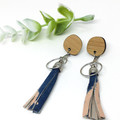 Leather Tassel earrings, shibori dyed leather earrings