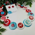 CHRISTMAS - Reindeer and  Snowmen - Button Necklace and Earrings