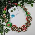 Candy Cane Swirls - Christmas - Necklace Buttons Polymer - Jewellery - Earrings