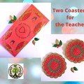 2 Christmas Coasters in Red, Green and Gold - Red Presentation Pack for Teacher