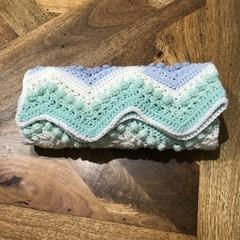 Hugs and Kisses. Crochet Baby Blanket, Knee Rug, Pram, Bassinet, Baby Shower.