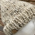 Cream beige men's or ladies Cream PomPom beanie