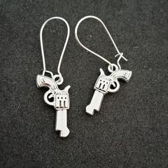 Silver gun charm earrings