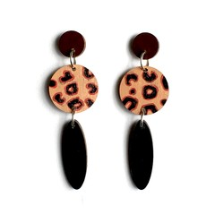 Hand Painted Wooden Black Leopard Print Statement Dangle Earrings