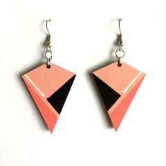 Hand Painted Wooden Pink Black White Statement Drop Retro Earrings