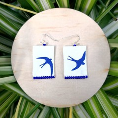 Blue Bird Dangle Earrings