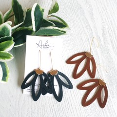 Boho Flower, Genuine Leather Earrings, Black, Tan
