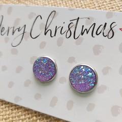 Glass dome stud earrings  Purple glitter