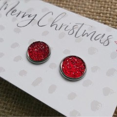 Glass dome stud earrings  red glitter