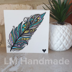 Hand Drawn Card - Aztec Feather