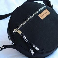 Canvas round crossbody bag