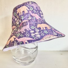Girls summer hat in purple dino fabric