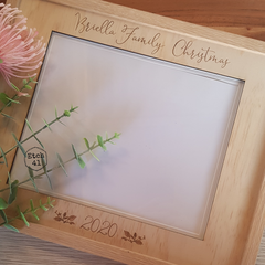 Christmas Photo Frame Pine Etched Personalised
