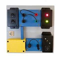 "Green Pea Toyz ""Electronics"" Handmade Sensory Board - 250x250 (Blue Lemon)"