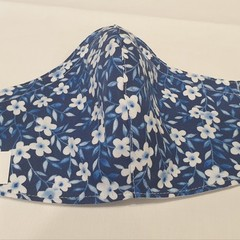 FACE MASK, 3 PLY COTTON BLUE & WHITE FLOWERS