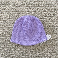 Lilac Newborn Baby Hat - Hand knitted