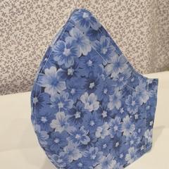 FACE MASK, 3 PLY COTTON LIGHT BLUE FLOWERS