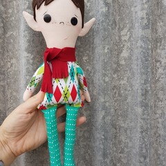 Mistletoe elf doll, handmade christmas doll