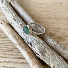 Sea glass bezelled ring