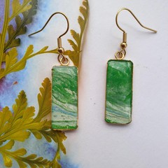 Gold  rectangular drop earrings or necklace in green