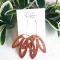 """""""Lotus Flower"""", Genuine Leather Earrings, Black, Tan"""