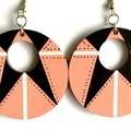 Hand Painted Wooden Pink and Black White Statement Retro Earrings