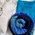 Nuno Felted Scarf Kit, Turquoise silk scarf & Beautiful blue tone of Wool Roving
