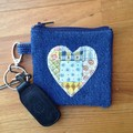 Upcycled Denim coin purse - Patchwork Heart