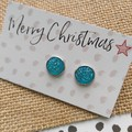 Glass dome stud earrings  Aqua glitter