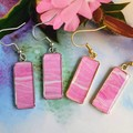 Pink  Rectangular Drop Earrings in Silver or Gold