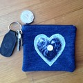 Upcycled Denim coin purse - Blue Heart