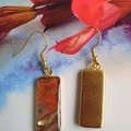 Brown and Gold Rectangular earrings in Gold or Silver