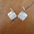 Recycled silver 'Aztec' textured earrings