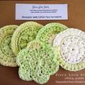 Face Scrubbies, 5 x Green white textured pack, hand crocheted, 100% cotton, mach