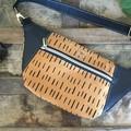 Hip/waist/bum Bag - Mustard Dash/Black Faux Leather