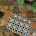 Hip/waist/bum Bag - Black & White Geo/Tan Faux Leather