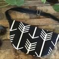 Hip/waist/bum Bag - Black & White Arrows/Black Faux Leather