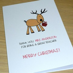 Personalised Teacher thank you Christmas card - 3 styles