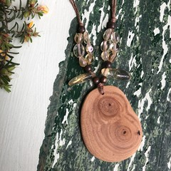 Wood and Citrine Necklace