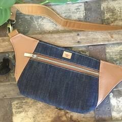 Hip/waist/bum Bag - Denim/Tan Faux Leather