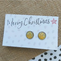 Glass dome stud earrings  Yellow glitter